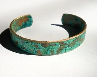 Turquoise Patina Cuff/ Patina Cuff/ Thin Patina Cuff/ Patina Bracelet/ Verdigris Cuff Bracelet/ Bohemian Chic/ Rustic Patina Cuff
