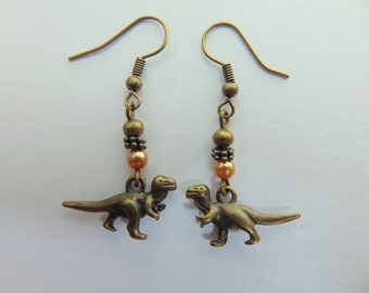 Peach and Bronze Dinosaur Earrings