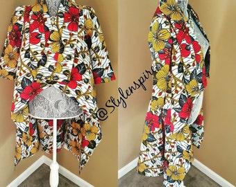 New | Ankara Jacket | Ankara Wax Print SHADíA JACKET DRESS with Pockets
