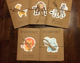 Passport to the jungle birthday invitation- set of 10.