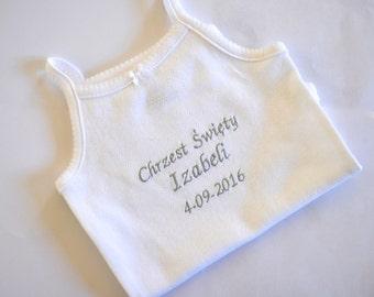 Sleeveless onesie/Baby onesie, baby name ones,Chrzest Święty onesie