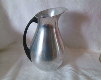 Vintage mid century modern aluminum water pitcher creamer table top serving pitcher very neat shape made in Spain