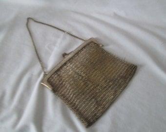 German Silver Antique Mesh Chain Bag Victorian Era Purse Small Chain Bag