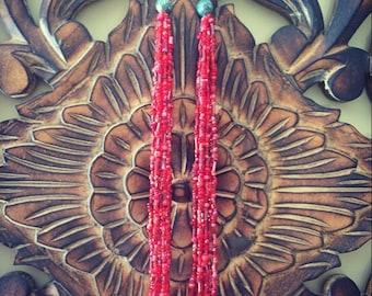 Long tassel earrings / red tassel earrings / boho tassel jewelry / boho earrings / bohemian style jewelry / boho bohemian gypsy gift