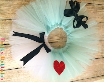Alice in Wonderland Handmade Sewn Tutu with Matching Headband, Babies, Toddlers and Girls, Full Fluffy, Special Occassion, Birthday Party