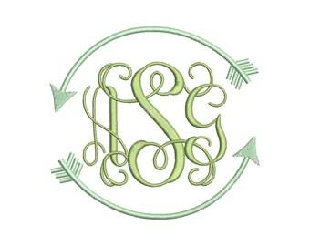 SALE!! Arrow Monogram Border Frame Machine Embroidery Design 11 Size - INSTANT DOWNLOAD