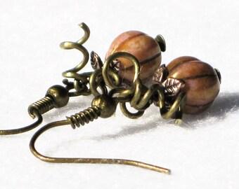 Pumpkin Earrings Autumn Earrings Bronze Earrings Autumn Gift Hallowe'en Halloween Earring