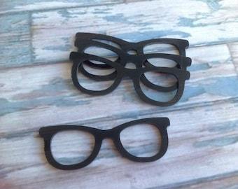 Laser cut acrylic retro glasses black
