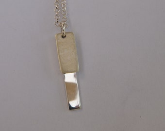 Delicate Sterling Silver Chain Necklace with Geometric Pendant in Matte and Gloss Finish