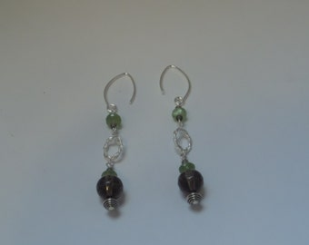 Long Sterling Silver, Quartz and Periot Earrings