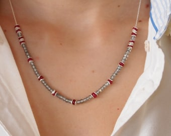 Delicate Necklace in Sterling Silver Chain, Teal Green Mystic Quartz and Red Jade