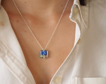 Modern Necklace in Sterling Silver and  Blue and Green Lampwork Crystal Bead