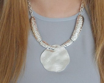 Silver Textured Disc Style Statement Necklace