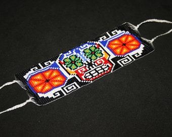 Huichol Bracelet, Native American Beaded Bracelet, Mexican Skull, Sugar Skull, Peyote Cuff Bracelet, Seed Bead Bracelet, Huichol Beadwork
