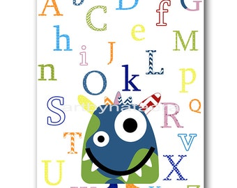 Alphabet Monster Wall Decor Digital Download Art Instant Download Print Baby Boy Nursery Print Baby Nursery Decor Digital Print 8x10 11X14