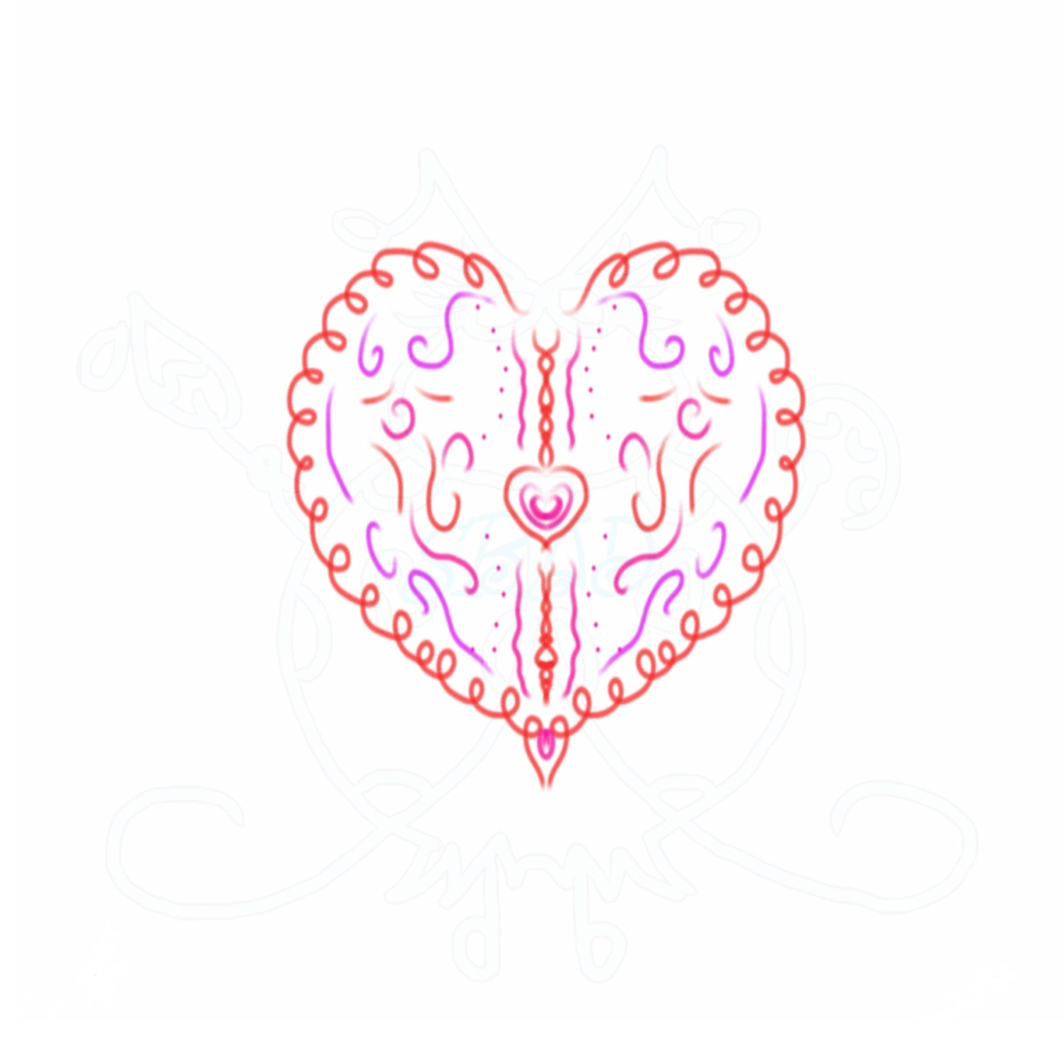 Filigree Heart Outline Digital Clip Art Hand Drawn Instant