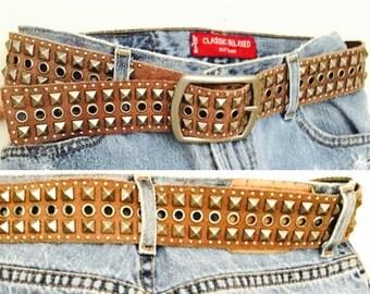 Vintage Studded Brown Belt Genuine Leather / Boho Gipsy Black Belt/ Hippie Boho belt