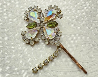Flower Rhinestone Hair Clip,  Vintage Rhinestone Hair Clip, bridal hair clip  vintage Hair Pin Bridal Wedding Hair Accessories