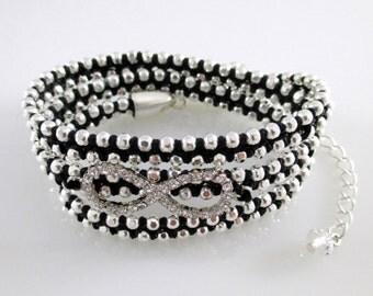 Silver Wrap Black Bracelet, Wrap Black Bracelet, Black Bracelet Wrap, Black Bracelet,Wrap Bracelet,Silver Wrap Bracelet,Bracelet Wrap Silver