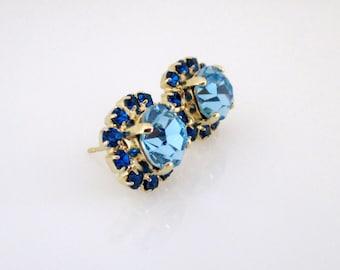 Swarovski Blue Earrings, Blue Earrings, Swarovski Earrings, Crystal Blue Earrings, Crystal Stud Earrings, Stud Earrings, Blue Stud Earrings