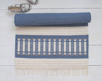 Blue and Off White Rug, Small Cotton Rug, Reversible, Handmade on the Loom, Made to Order