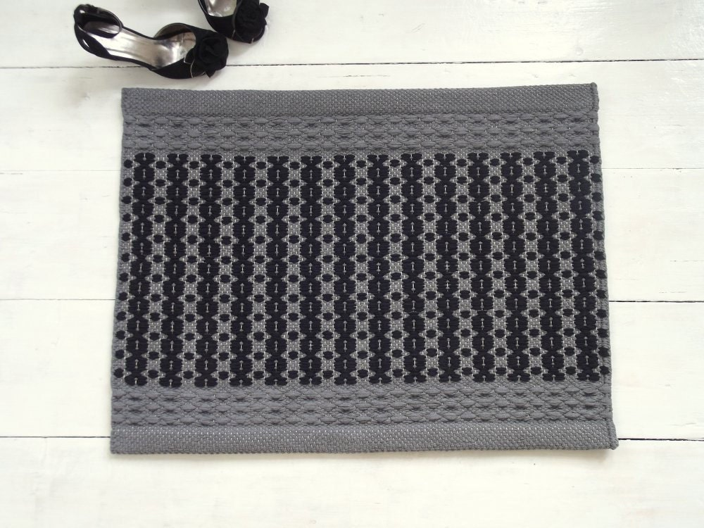 Small Woven Rug Grey And Black Cotton Rug Bathroom Rug By