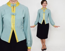 40s Turquoise Blouse | Blue Crepe Gold Metallic Top Shirt Blouse | Small