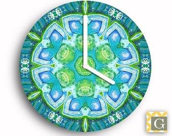 Wall Clock by GABBYClocks - Abstract Green Mandala Grande