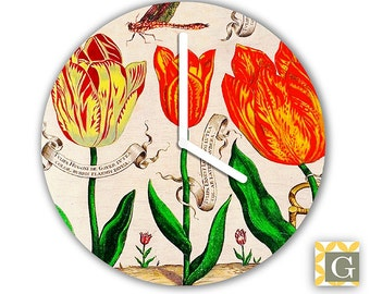 Wall Clock by GABBYClocks -  Antique French Botanical No. 7