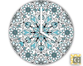 Wall Clock by GABBYClocks -  Blue & Black Mandala Grande