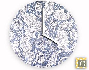 Wall Clock by GABBYClocks -  Vintage Blue Wallpaper