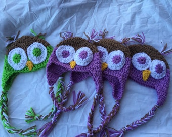 Crochet owl hat: multiple sizes and colors