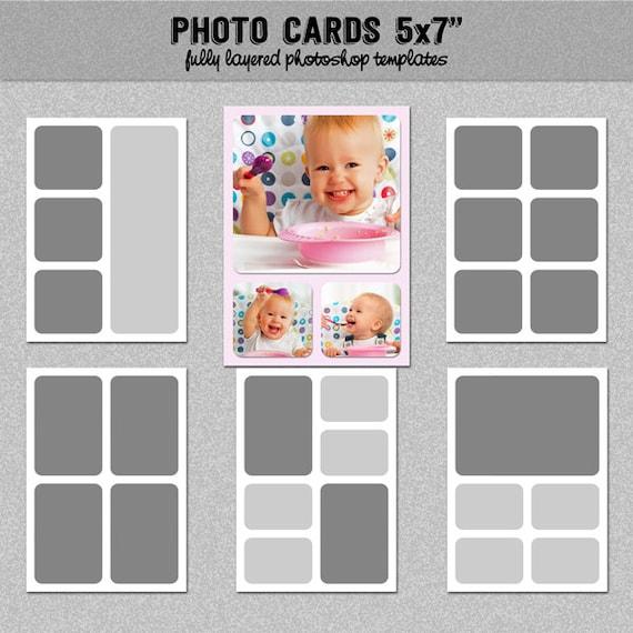 6 photo card templates 5x7 set 1 instagram collage. Black Bedroom Furniture Sets. Home Design Ideas
