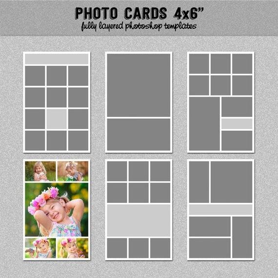 6 photo card templates 4x6 set 1 instagram collage blog board storyboard photoshop. Black Bedroom Furniture Sets. Home Design Ideas
