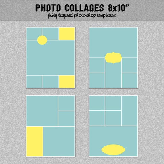 "4 Photo Storyboard Templates 8X10"", Set 2 - Instagram Collage"