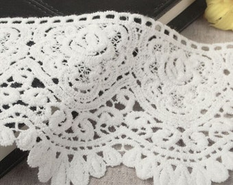 High Quality Cotton Fabric Lace Trim - White Hollow Lace Cotton Lace Bags Supplies 3.54 inches wide 1 yards,MS01