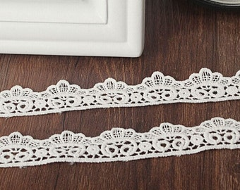 Cotton Fabric Lace Trim - White Embroidery Lace Cotton Lace Supplies Crafting Gift Wrap 0.79 inches wide 2 yards,MS06