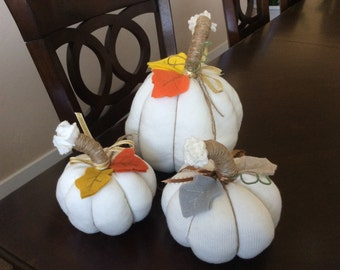 White Sweater Pumpkins, Stuffed Fabric Pumpkins, Thanksgiving Table Top Decor, Halloween Accent, Pumpkins, Autumn Decor, Table Centerpiece