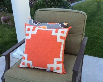 Orange Outdoor Pillow Cover,Blue Greek Key Pillow, Greek Key Fretwork, Grosgrain Ribbon, Outdoor Decor, Sun Shade Pillow, All Weather Pillow