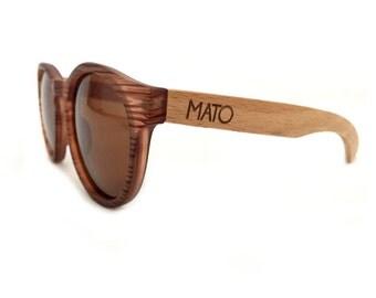 Mato Wooden Sunglasses, Erika Round Polarized Bamboo Sunglasses, Mens/Womens Retro Sunglasses, Bamboo Sunglasses Case, Wood Sunglasses