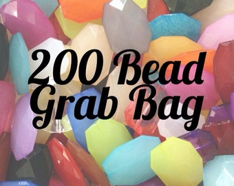 Bead Grab Bag! Large Faceted Slab Beads - 30 Color Choices - Flat Rate Shipping - Nugget Bead for bangles