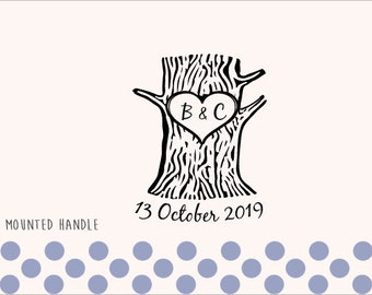 Custom Personalized Wedding Stamp - Tree with heart - 019