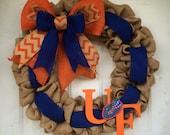 "Florida Gators wreath Burlap wreath Orange and Blue University of Florida Gator Nation  22"" football season special!!!"