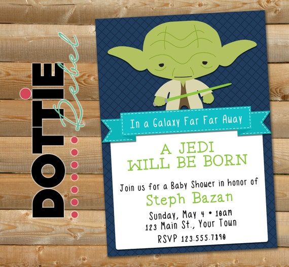 printable star wars inspired baby yoda baby shower invitation 5x7
