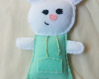 White Mouse in a Mint Hoodie Felt Plushie
