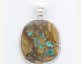 Navajo Boulder Turquoise Necklace Sterling Silver Native American