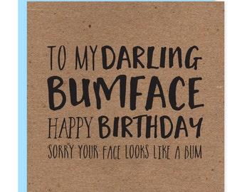 Bumface Birthday card | Funny happy birthday cards | Recycled kraft b'day card