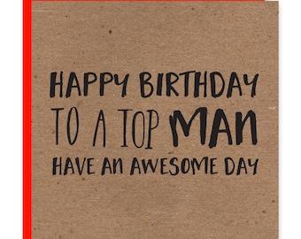 Mens birthday cards etsy tom man birthday card funky birthday card recycled kraft for men altavistaventures Image collections