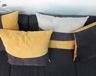 handmade striped pillow cover set of 4 yellowgrey pillows in 3 fabulous patterns