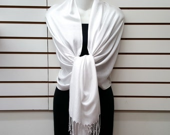 WHITE Color Wedding cover up/ scarf pashmina/ bridal accessories/ bridesmaids gifts/ prom/ gift/ Shawl pashmina